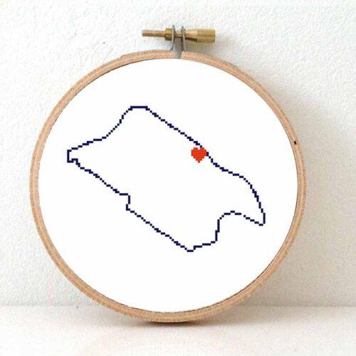 Pitcairn map cross stitch pattern