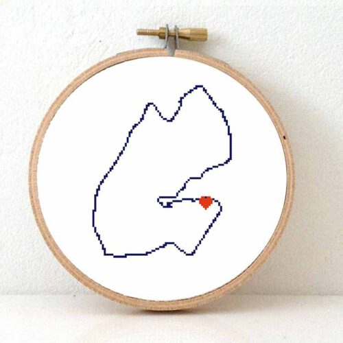 Djibouti map cross stitch pattern
