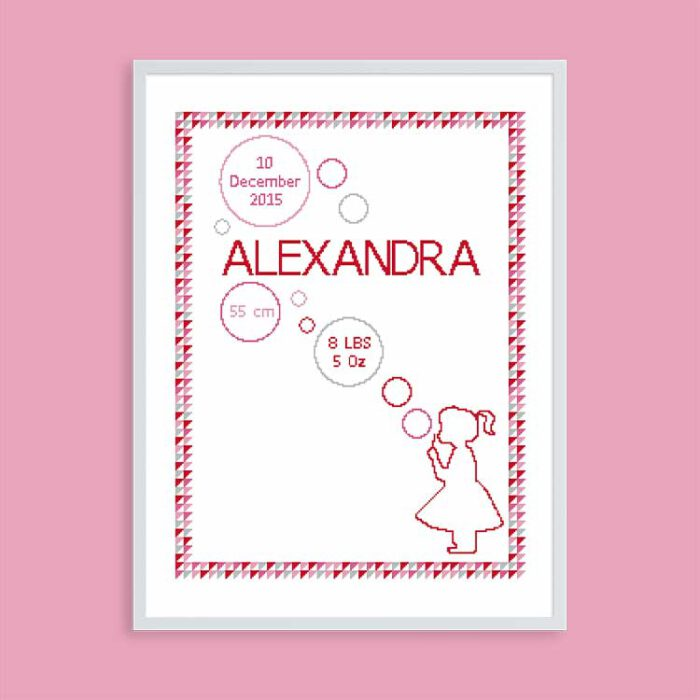 Baby cross stitch sampler girl with bubbles customizable
