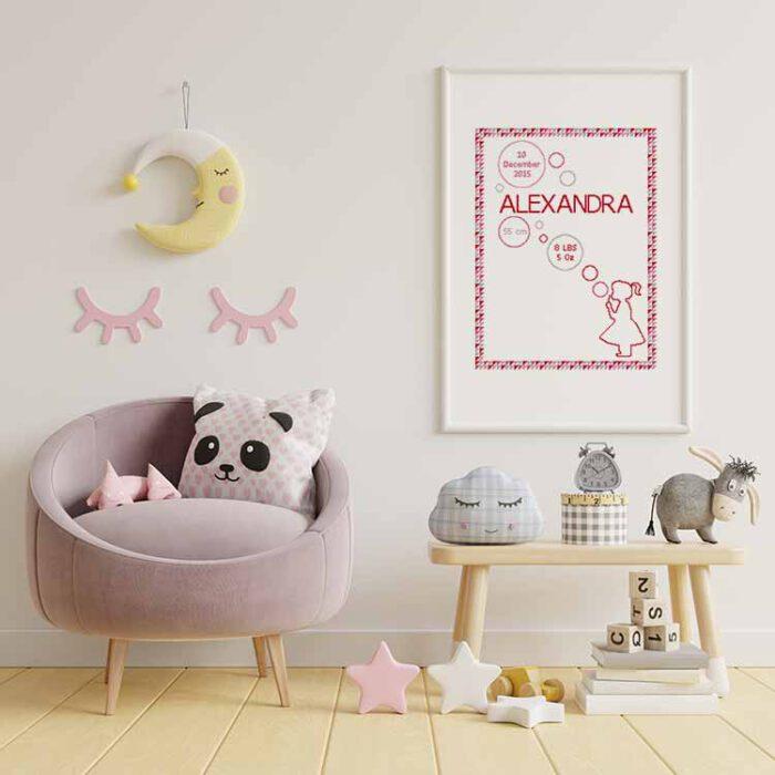 Baby cross stitch sampler girl with bubbles customizable cross stitch pattern