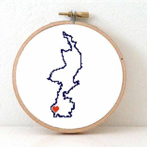 Limburg map cross stitch pattern