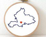 Gelderland map cross stitch pattern