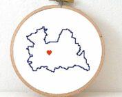 Utrecht map cross stitch pattern