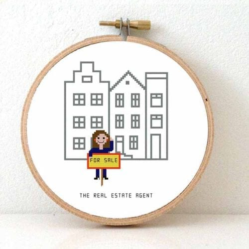 14011 real estate agent female cross stitch pattern