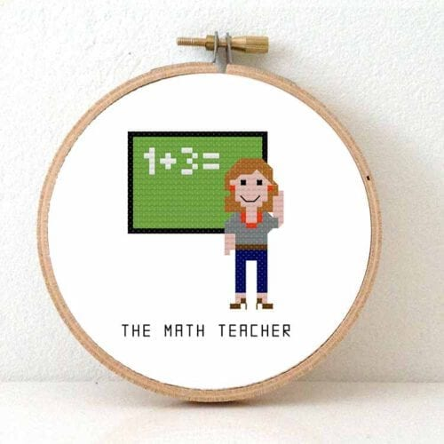 female math teacher cross stitch pattern