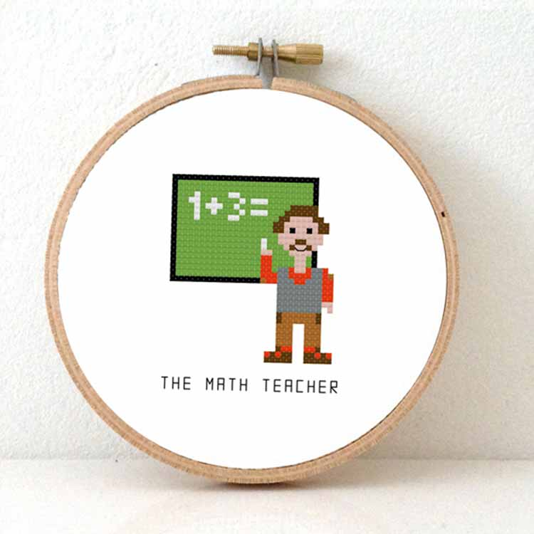 mathmatics teacher cross stitch pattern