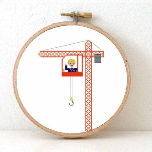 male crane operator cross stitch pattern