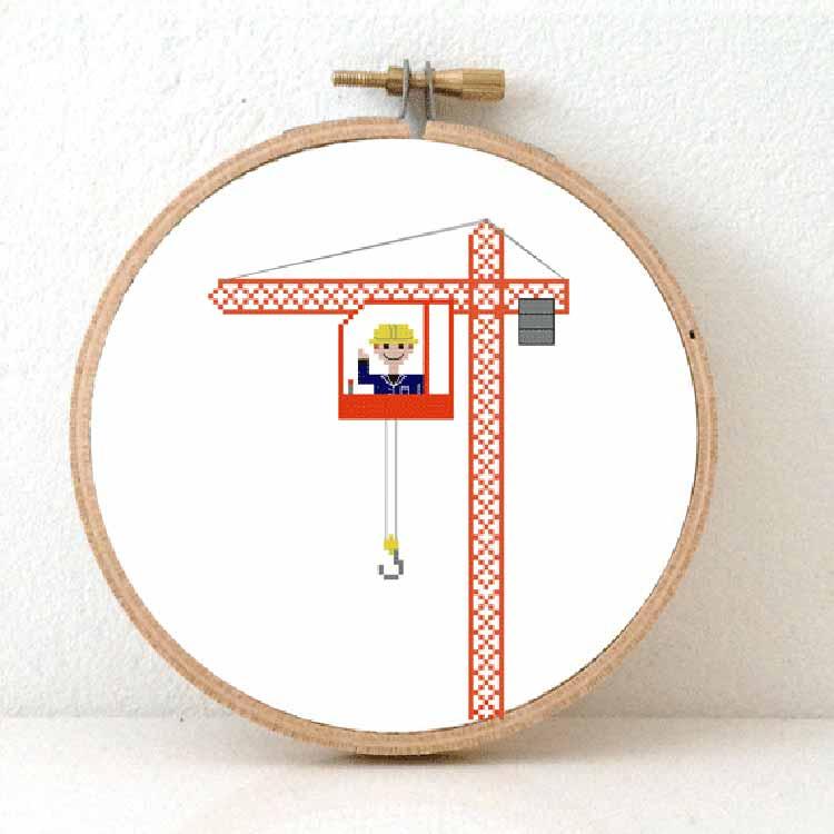 male crane operator cross stitch pattern