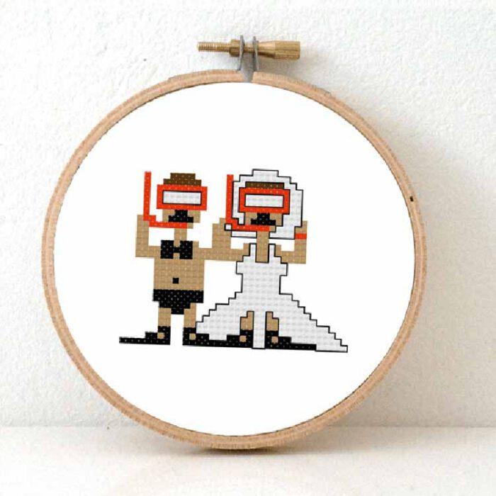 diving wedding couple cross stitch kit