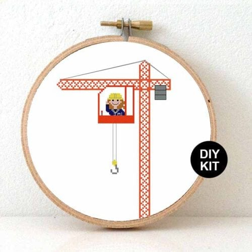 gift for female crane operator cross stitch kit