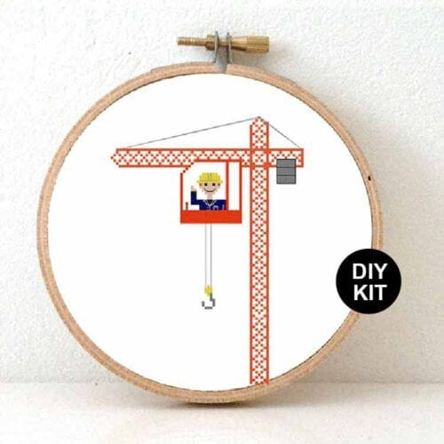 gift for male crane operator cross stitch kit