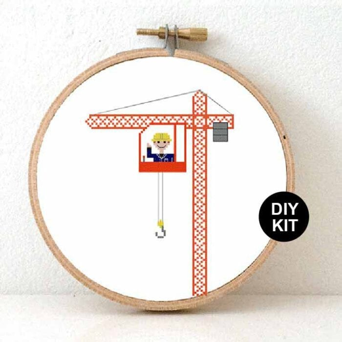 gift for male crane operator cross stitch kit