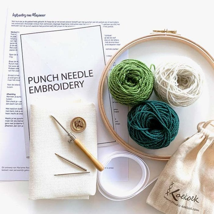 Botanical Punch needle kit project Just breathe