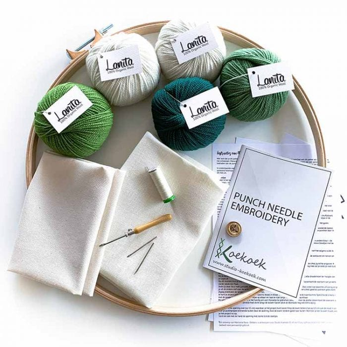 Botanical punch needle cushion punch needle kit for beginners