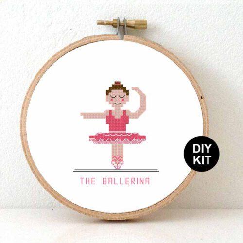 Female ballerina cross stitch kit