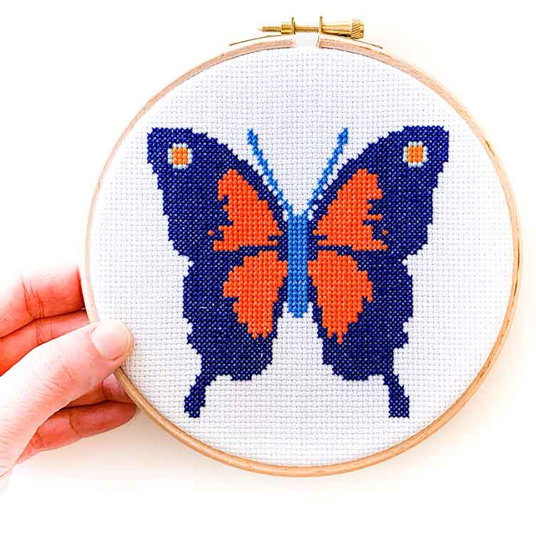 Red blue butterfly cross stitch kiit