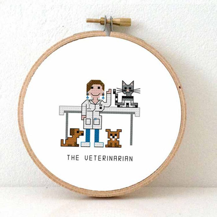 female veterinarian cross stitch pattern for beginners