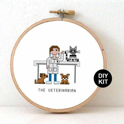 female veterinarian cross stitch kit for beginners