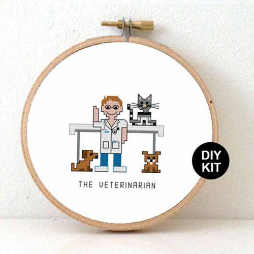 male veterinarian cross stitch kit for beginners