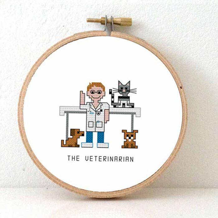 male veterinarian cross stitch pattern for beginners