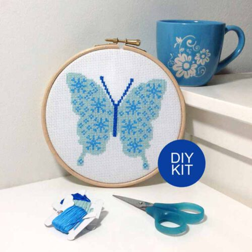 snowflake butterfly cross stitch kit