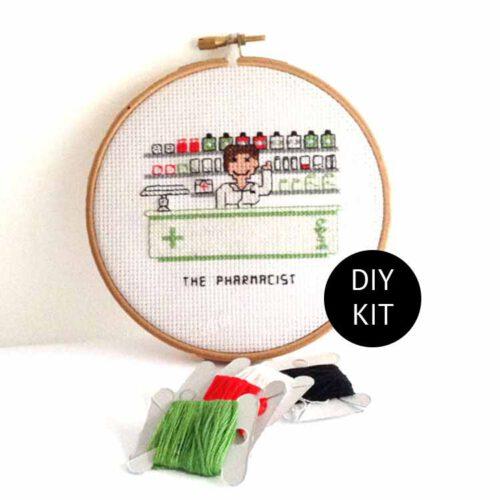 female pharmacist cross stitch kit gift idea