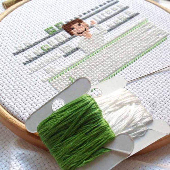 female pharmacist cross stitch pattern wip