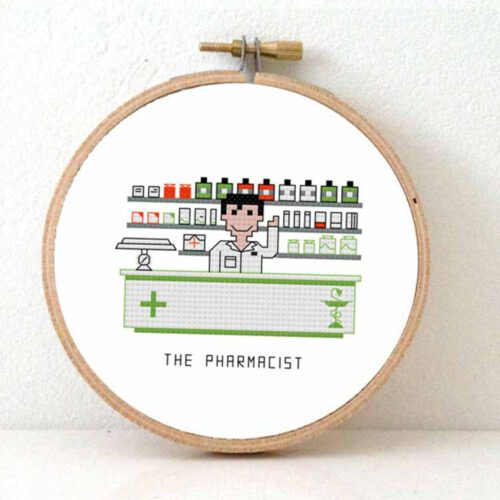 male pharmacist cross stitch pattern