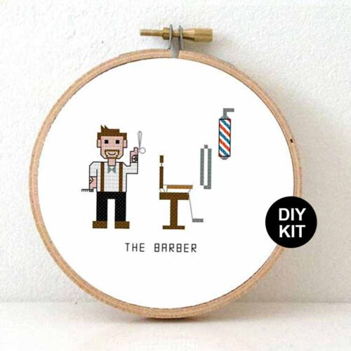 gift for male barber cross stitch kit