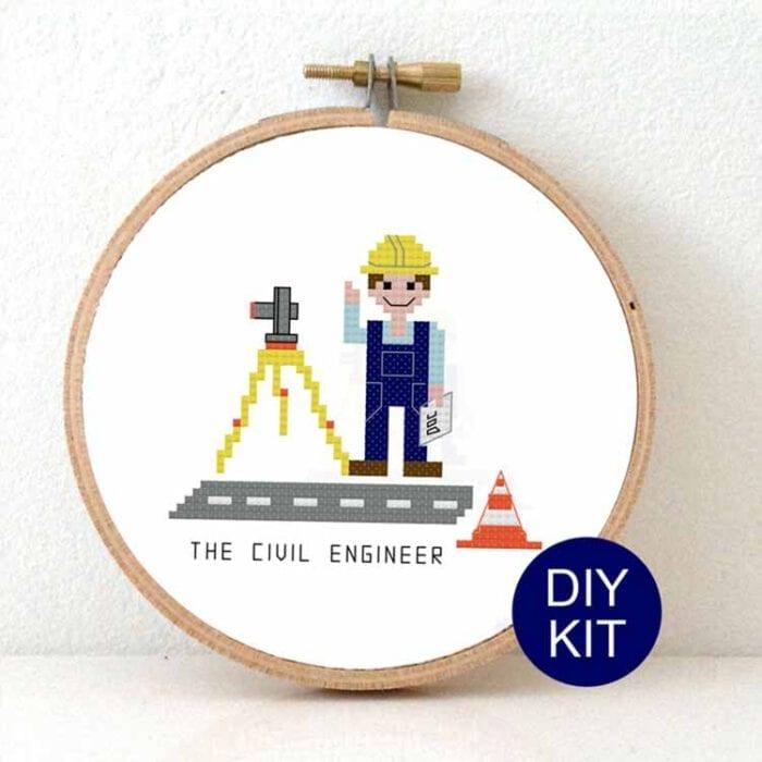 cross stitch kit civil engineer