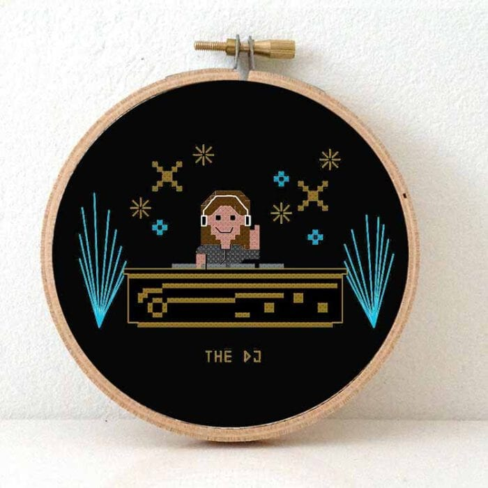 female dj cross stitch pattern