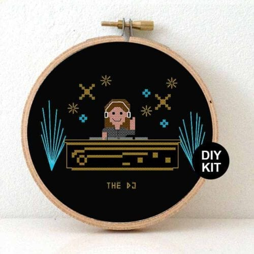 female dj cross stitch kit