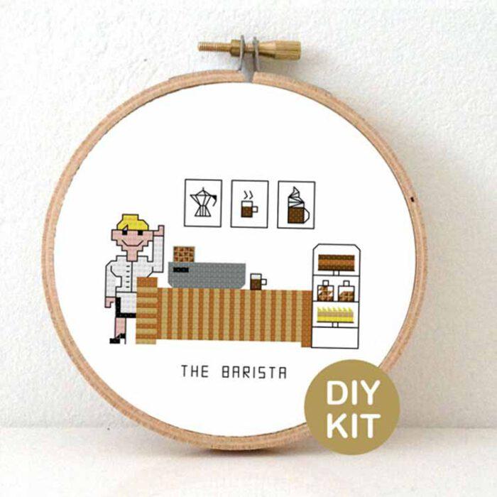 female barista cross stitch kit