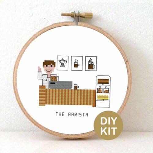 male barista cross stitch kit