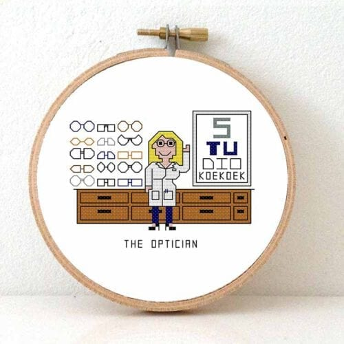 female optician cross stitch pattern glasses geek gift idea