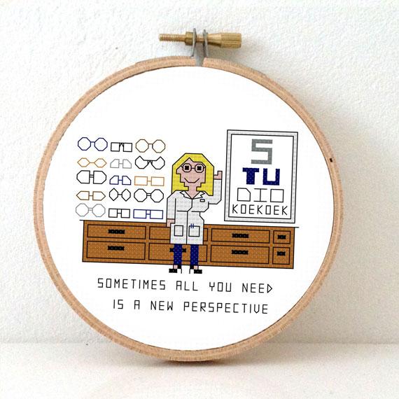 female optician cross stitch pattern glasses geek gift idea
