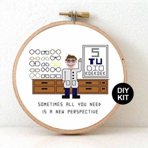 male optician cross stitch kit gift idea