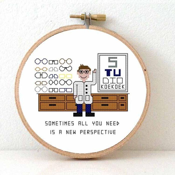 male optician cross stitch pattern glasses geek gift idea