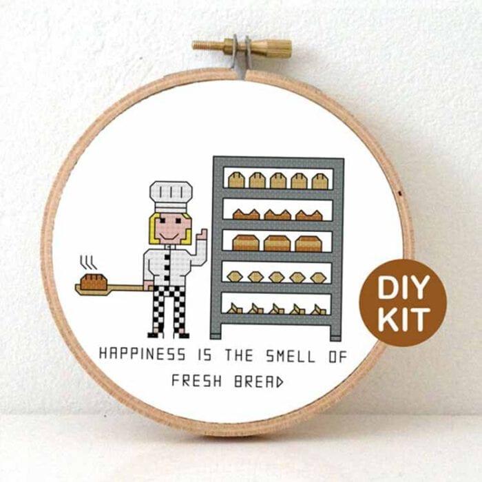 female baker cross stitch kit