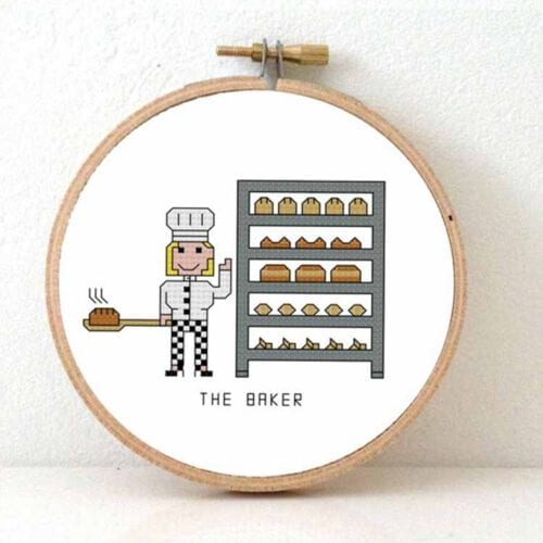 female baker cross stitch pattern