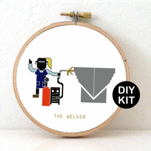 female welder cross stitch kit