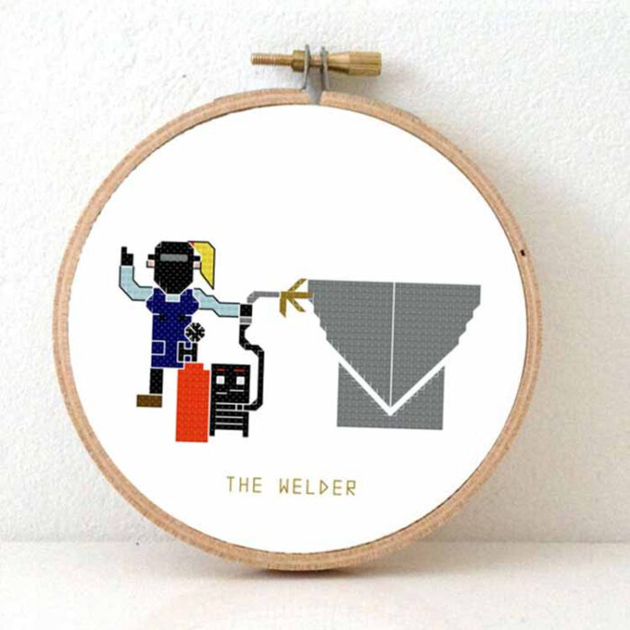 female welder cross stitch pattern