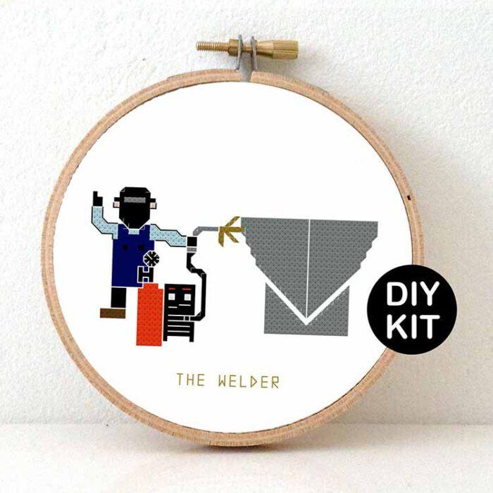 male welder cross stitch kit