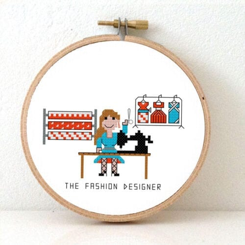 female fashion designer cross stitch pattern