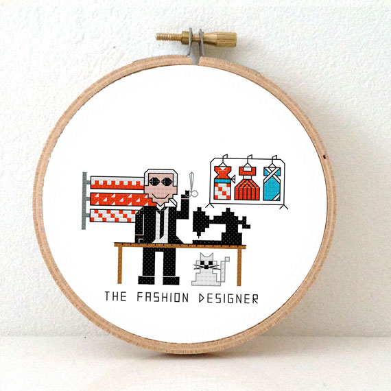 male fashion designer cross stitch pattern