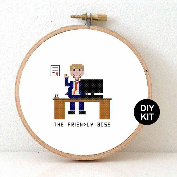 male friendly boss cross stitch kit