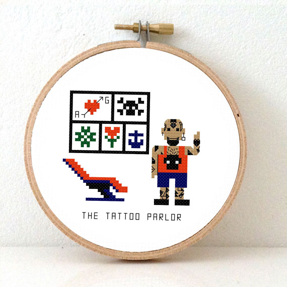 male tattoo parlor cross stitch pattern
