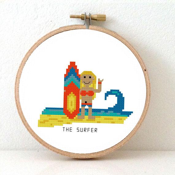 female surfer cross stitch pattern beach theme