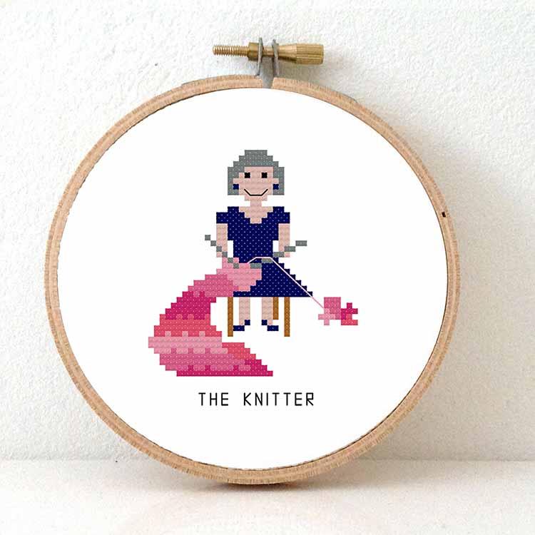 female knitter cross stitch pattern