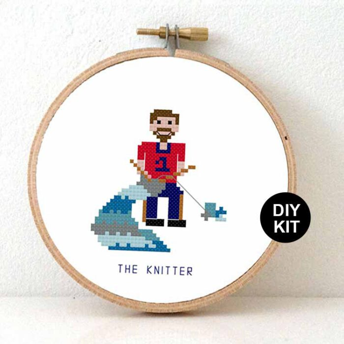 male knitter cross stitch kit